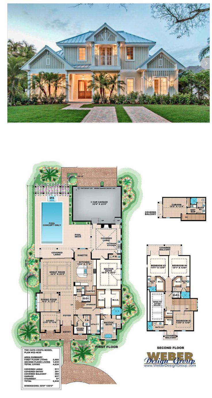 This Olde Florida house plan has all the casual elegance one could want in a home. With a great room layout, this open and inviting design offers 4,630 sq. ft. of living space with 5 bedrooms, 5 full baths and 2 half baths. The facade is composed of hardie board siding and a traditional metal roof with a quaint covered front porch. More Beach House Plans:  https://www.weberdesigngroup.com/home-plans/style/beach-house-plans/