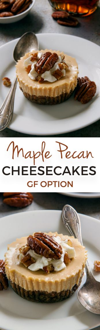 These mini maple cheesecakes have a grain-free pecan crust but can also be made with graham crackers for a whole grain, gluten-free or traditional graham cracker crust!
