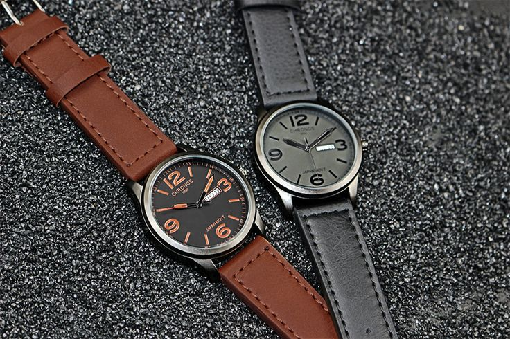 Luxury Top Brand CHRONOS Watch Men Genuine Leather Casual Japanese Quartz Watch Waterproof Date Clock Relogio Masculino De Luxo - Online Shopping for Watches