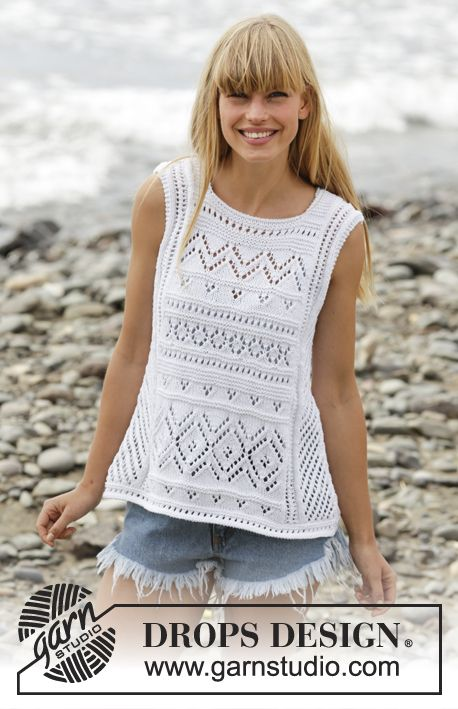 """Erica Singlet by DROPS Design - Knitted DROPS SLEEVELESS top with lace pattern and A-shape in """"Cotton Light"""". Size: S - XXXL."""