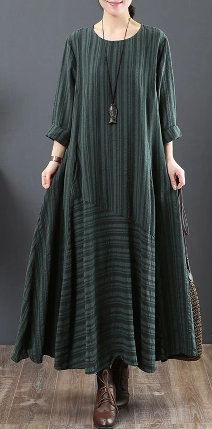 Vintage Green Pure Linen Dresses Loose Fitting Linen Clothing Dresses O Neck Big Hem Vinta Long Fall Dresses Long Skirt Outfits For Summer Fall Fashion Dresses [ 1418 x 700 Pixel ]