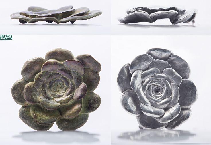 """""""Verode"""" Reproducción en bronce y aluminio de la planta Verode (aeonium canariense), una planta suculenta de origen canario y cuyas hojas forman una roseta.  Diseño y fundición Bronzo."""