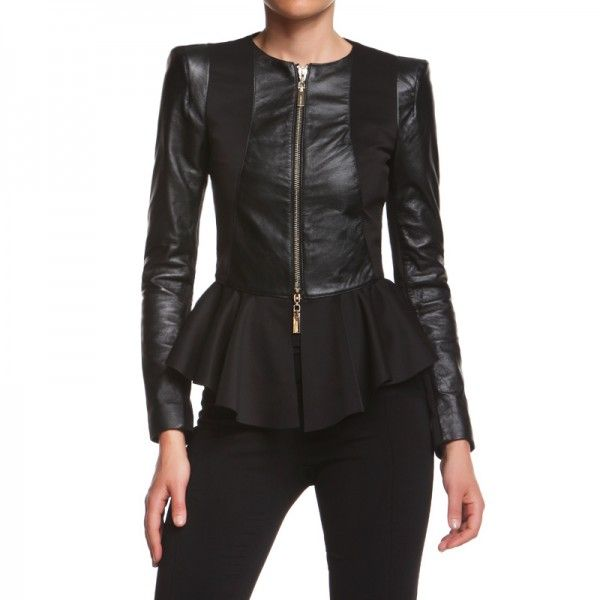 DENEUVE JACKET   Round neck jacket in leather and technical fabric with peplum http://shop.mangano.com/en/jackets/16758-giubb-deneuve-pelle-tecnico-ne.html