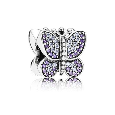 PANDORA sparkling butterfly charm with 48 purple and 44 lavender pavé set cubic zirconia. All set by hand. $75 #PANDORAcharm #PANDORAfact