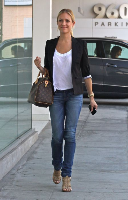 Simple white tee. Long necklace. Speedy. Blazer. Jeans. Strappy heels.