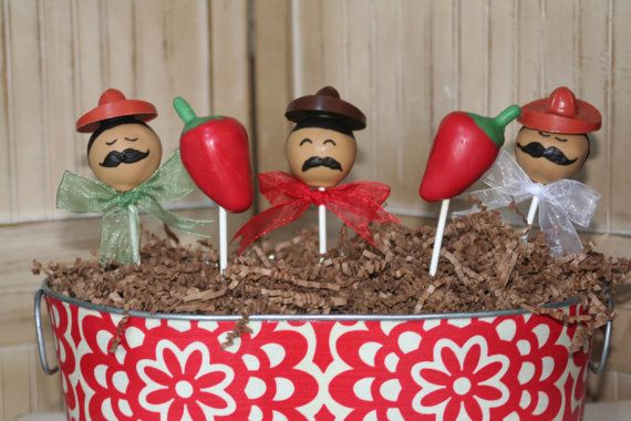 Moms Killer Cakes & Cookies Own Cinco De Mayo and Chili Pepper Cake Pops via Etsy