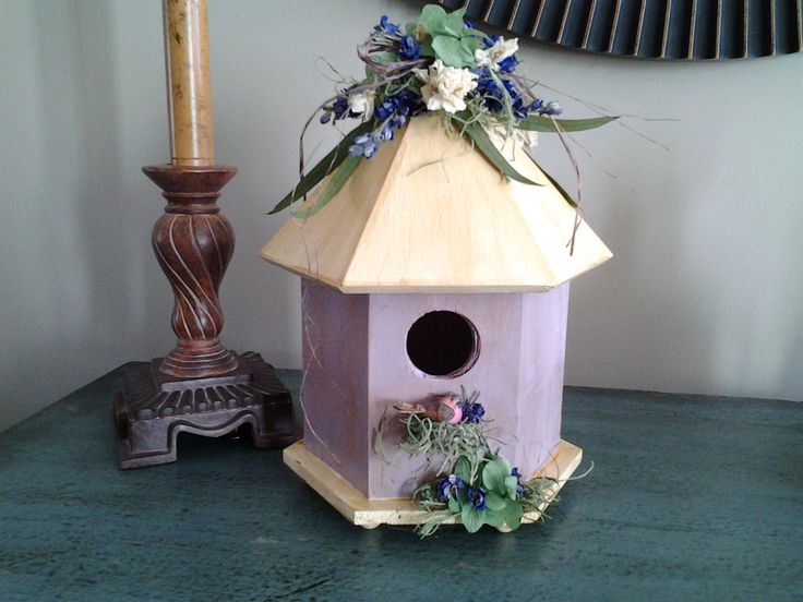 Spring Lavender Painted Birdhouse With Green Hydrangea, White And Purple  Larkspur As Well As Eucalyptus
