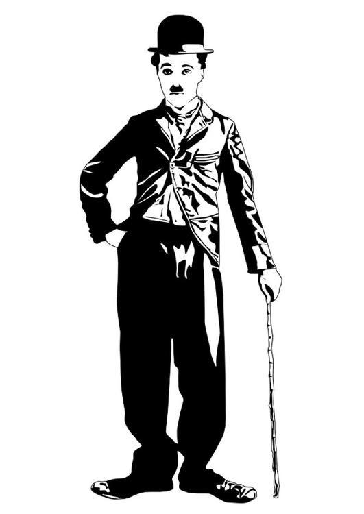 Coloriage Charlie Chaplin. Images pour l'écoles et l'éducation. Dessins et…