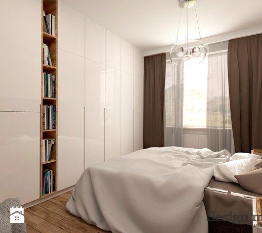 Średnia sypialnia małżeńska, z szafą, z zasłonami - aranżacje, pomysły, inspiracje