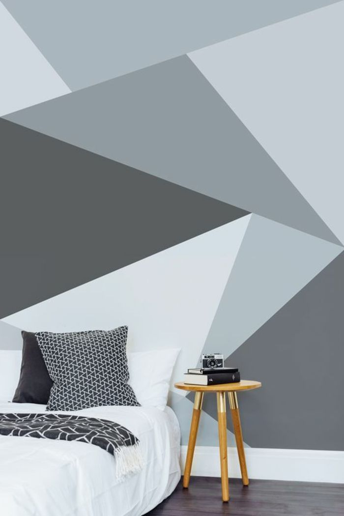 Wandgestaltung Ideen Schlafzimmer Wandtapete Geometrisches Muster