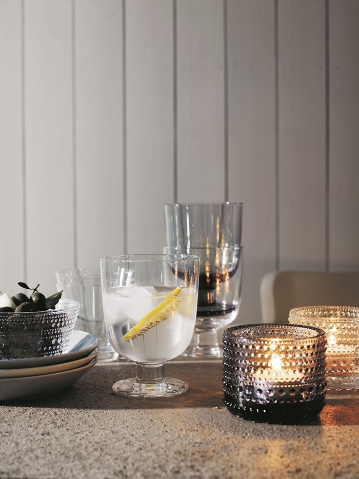 Iittala Kastehelmi votives and bowl, Lempi and Kartio glasses.