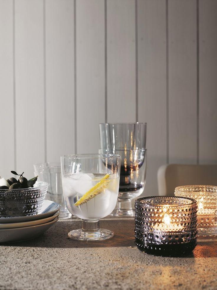 Iittala Kastehelmi votives and bowl, Lempi and Kartio glasses.