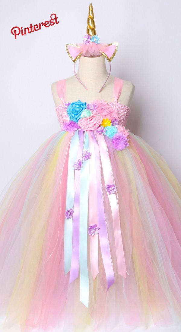 0ee39f6ef Chicas Vestido Tutu Pastel Unicornio Del Arco Princesa De la Muchacha de  Flor Vestidos de Fiesta de Cumpleaños De los Niños De los Niños de  Halloween Traje ...