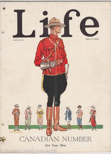 1923 vintage Canadian Mountie Cover art for Life Magazine June. The mountie and the maple leaf both appear on vintage magazine covers as iconic Canadian images. Illustrator: C. F. Peters. Illustration