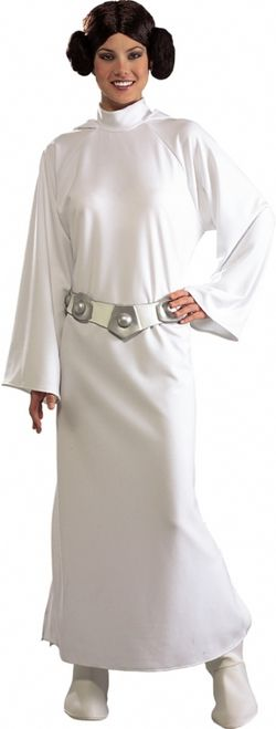 Deluxe Princess Leia Star Wars Costume - Great for comic conventions, Star Wars themed parties, withstanding Imperial torture, and makes an excellent couples themed costume for Halloween. Pairs well with X-Wing pilot Luke Skywalker, C-3PO, or even Darth Vader!  This is an iconic costume for Princess Leia from the classic Star Wars sci-fi saga.  #costume #yyc #calgary #princessleia #starwars #comicon #scifi