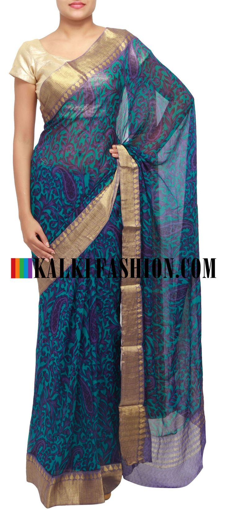 Get this beautiful saree here: http://www.kalkifashion.com/teal-and-purple-printed-saree-with-banarasi-border-only-on-kalki.html Free shipping worldwide.