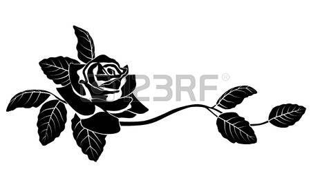 Цветочный: Черный силуэт цветов. Векторная иллюстрация.
