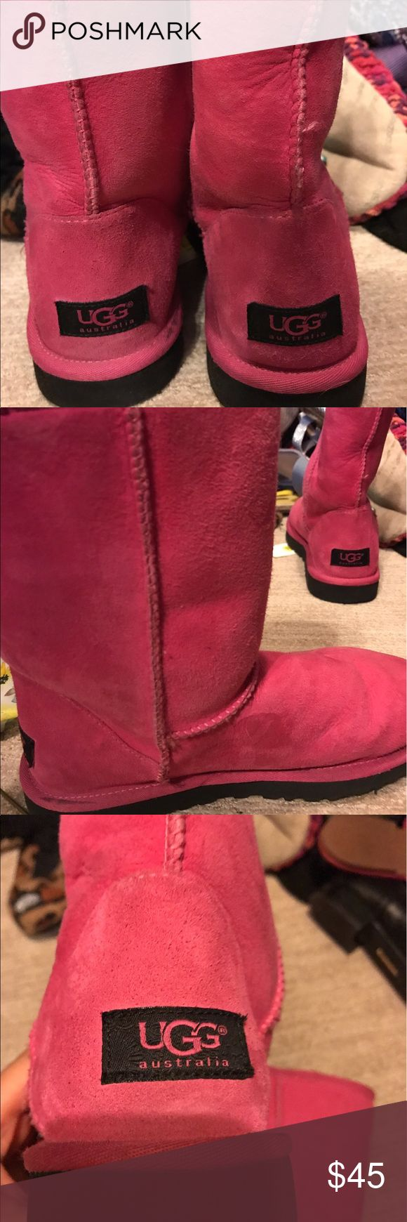 Pink and black ugg boots Worn a few times inside fur is really soft and In good condition. Got them in New York at an Ugg Store UGG Shoes Winter & Rain Boots