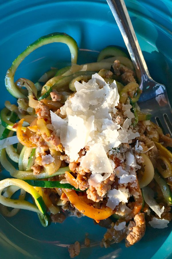 Ground Turkey Pesto Yellow Squash and Zucchini Noodles   ReluctantEntertainer