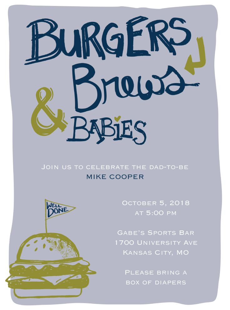 Burgers, Brews and Babies  Baby Man Shower invitation  #babyshower #manshower #burgersandbrews