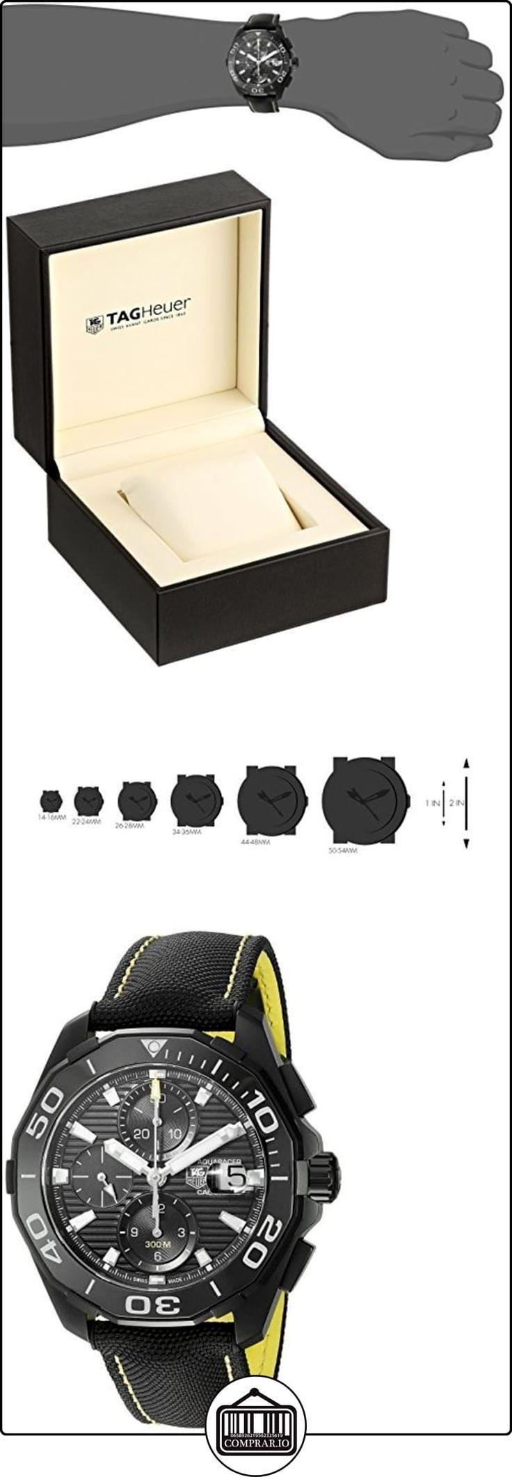 """TAG Heuer """"aquaracracer Swiss automático acero inoxidable y del hombres lienzo reloj de vestido, color: negro (modelo: cay218a. FC636 de  ✿ Relojes para hombre - (Lujo) ✿"""