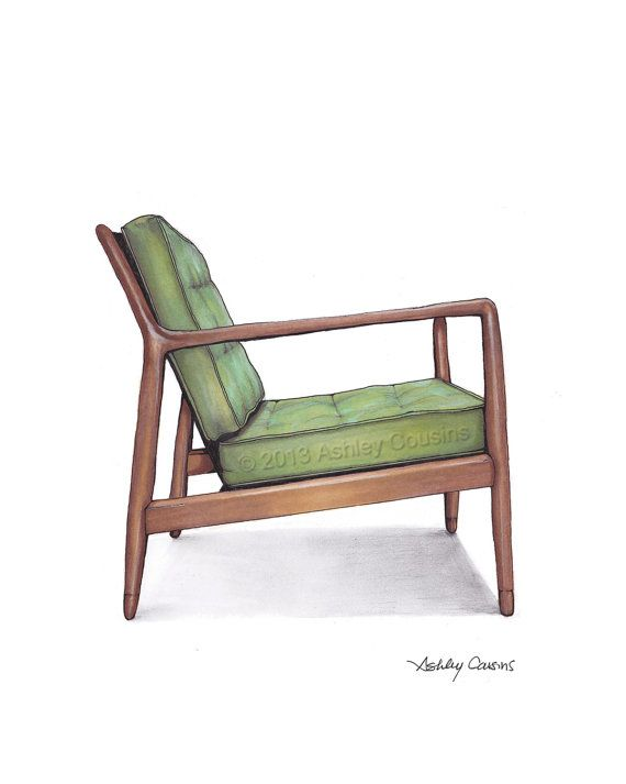 Mid Century Modern Danish Teak Chair Drawing, Spring Green - 8x10