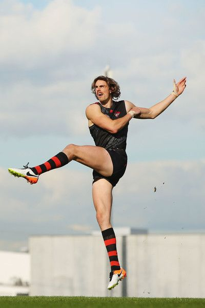 Joe Daniher of the Bombers kicks the ball during an Essendon Bombers AFL training session at True Value Solar Centre on June 1, 2016 in Melbourne, Australia.