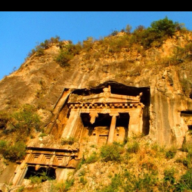 Lycian Rock Tombs in Fethiye Turkey.  The Mediterranean coastal area around Fethiye is steeped in history.