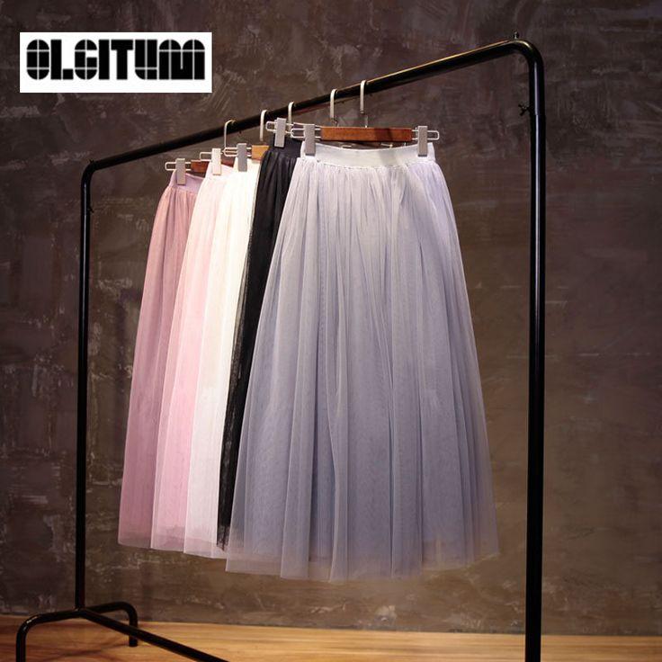 OLGITUM 2017 New High Quality High Waist Women Midi Skirts Pleated Tutu Skirt Long Tulle Skirt A-line Saia Faldas Muje