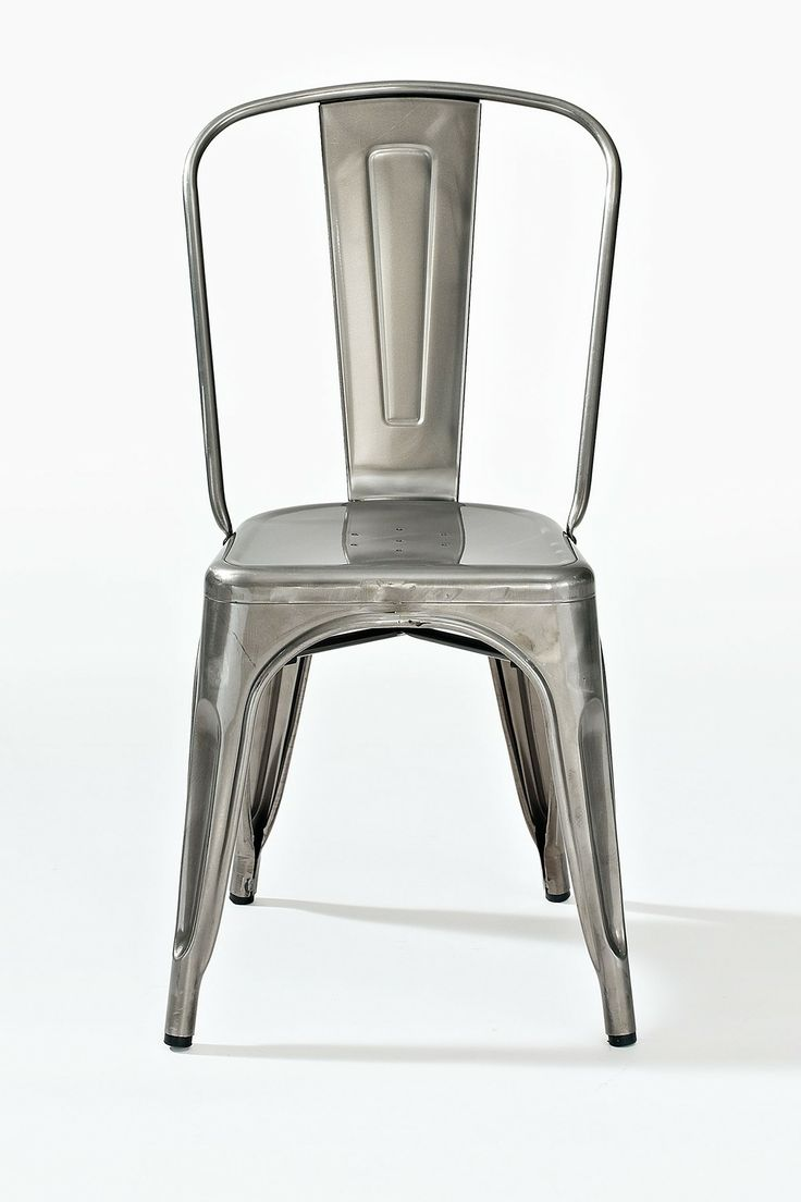 Yellow frame vintage sheet metal french cafe and bistro armless chairs - Galvanized Amelia Metal Cafe Chair