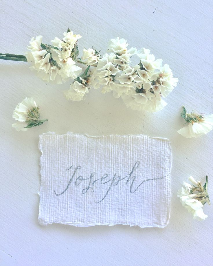Silver ink calligraphy Place Cards on handmade paper- subtle and elegant.