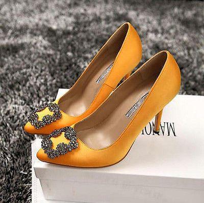 Nuevo Mujer Estrás Alta Calidad Tacones Altos BOMBAS Zapatos De Boda Con Joyas De Satén