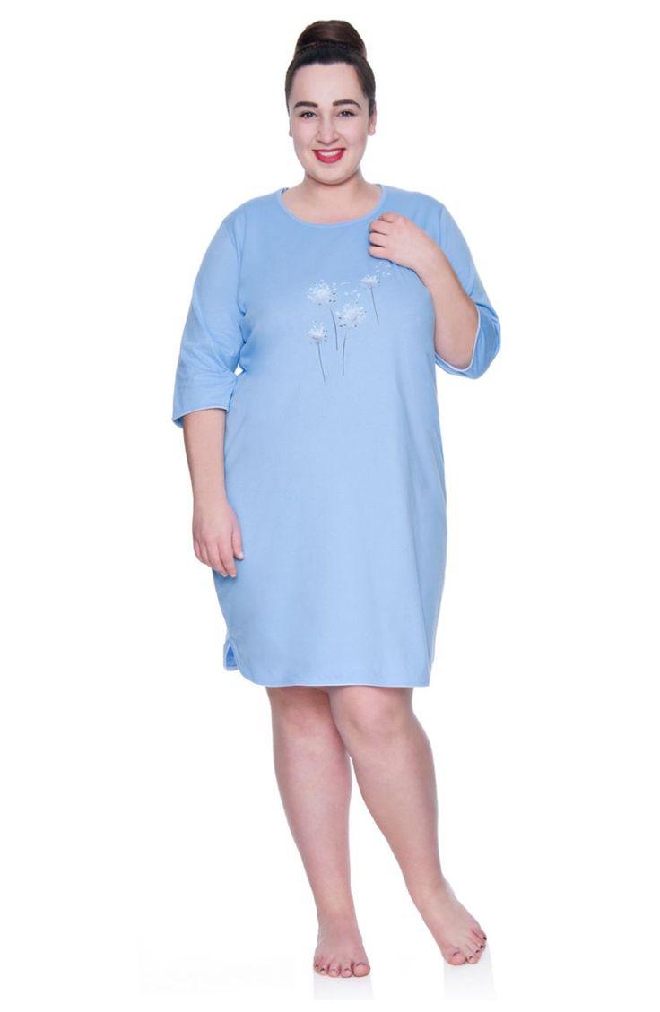 Błękitna koszula nocna z dmuchawcami rękaw 3/4 - Modne Duże Rozmiary