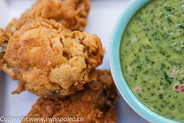 Paleo Cajun Fried Chicken (served with green chili coriander sauce)  #SwissPaleo