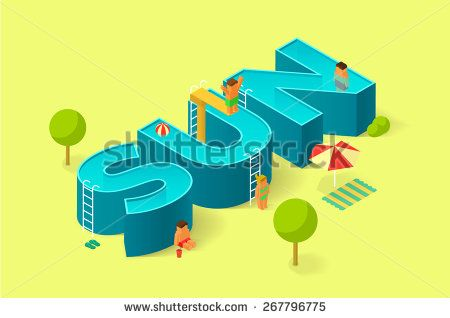 isometric illustration of pool in the form of sign Sun