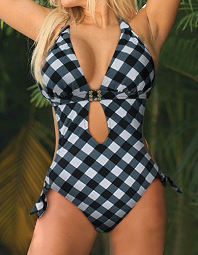 Sexy check pattern black&white One Piece MONOKINI padded  ladies swimwear SWIMSUIT size M-3XL  Free shipping