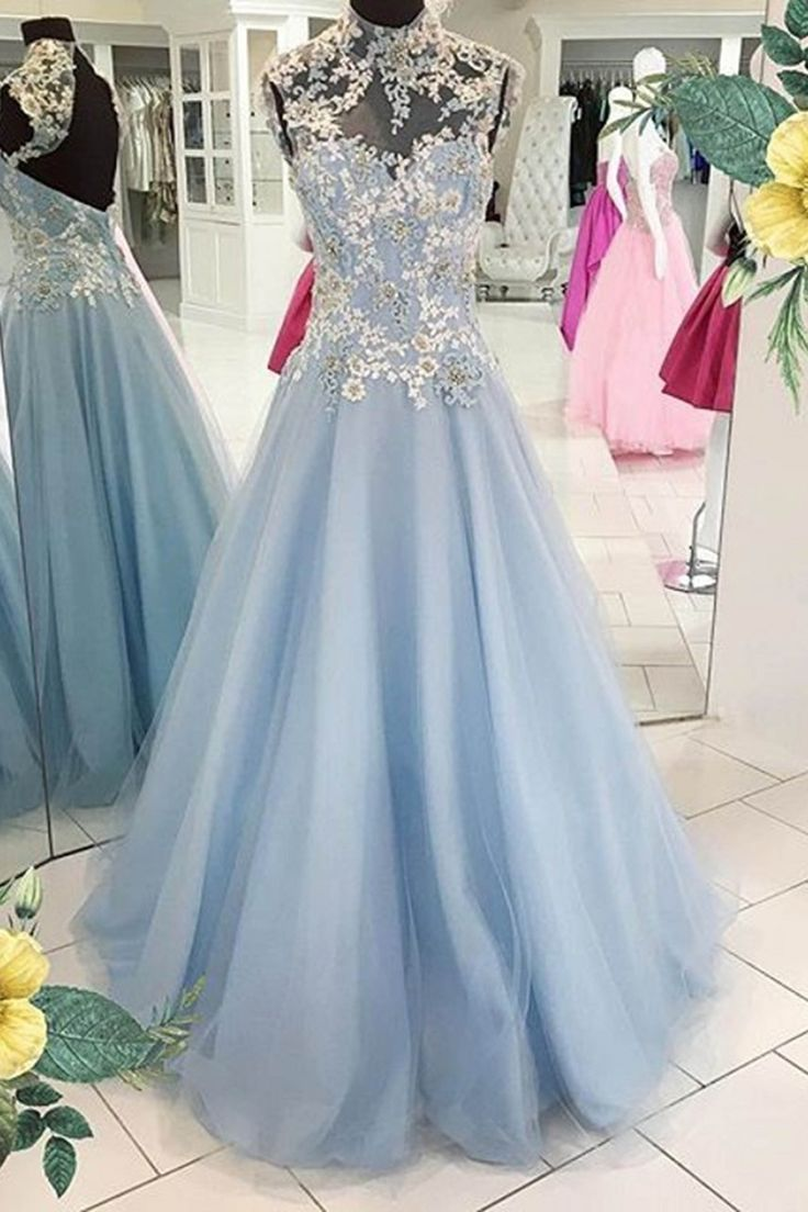 Vintage prom dress,ball gown, elegant blue tulle + lace appliques long dress for prom 2017