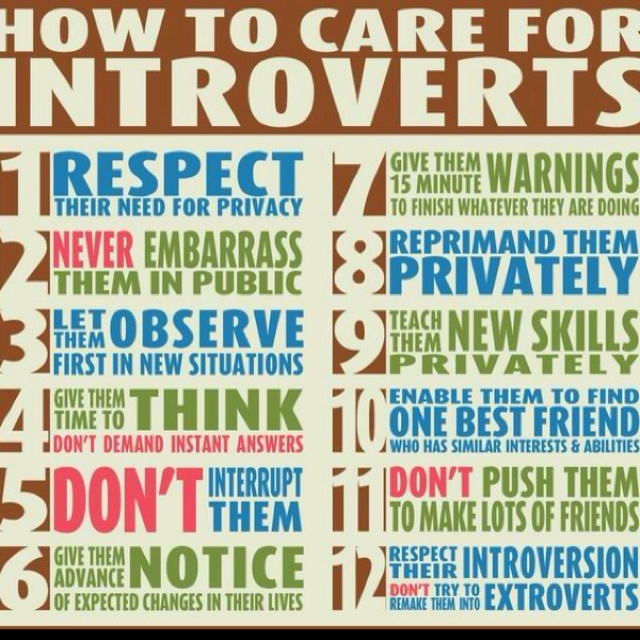 How to care for Introverts. Good tips for parents, teachers, managers, friends, anyone.