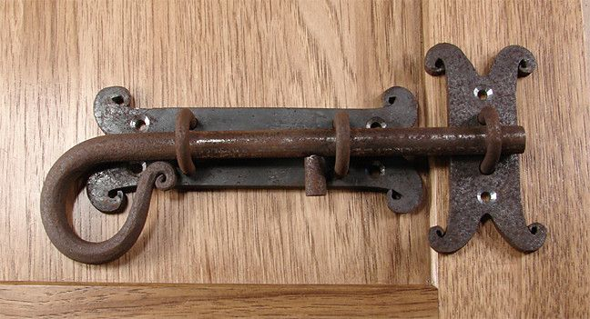 """1/2"""" dia. bolt Approx. 1 1/2"""" throw Back Plate 6"""" W x 2 3/8""""H Strike Plate 1 3/8"""" W x 3 1/2"""" H Hand-forged Iron Unfinished, slight rust"""