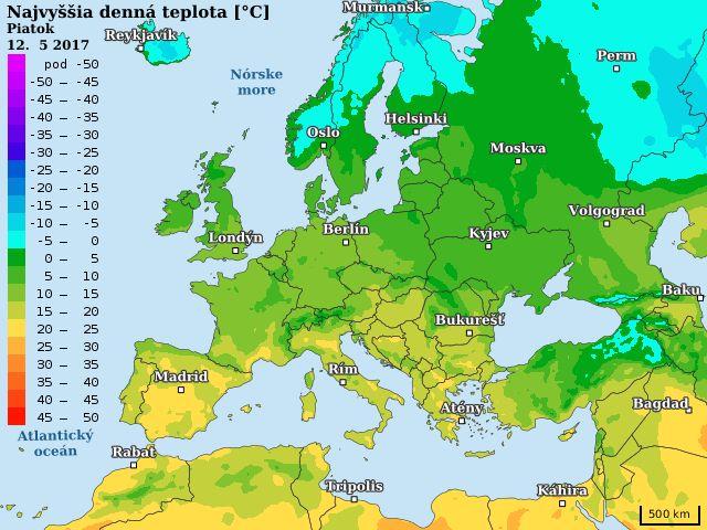 Európa - najvyššie teploty