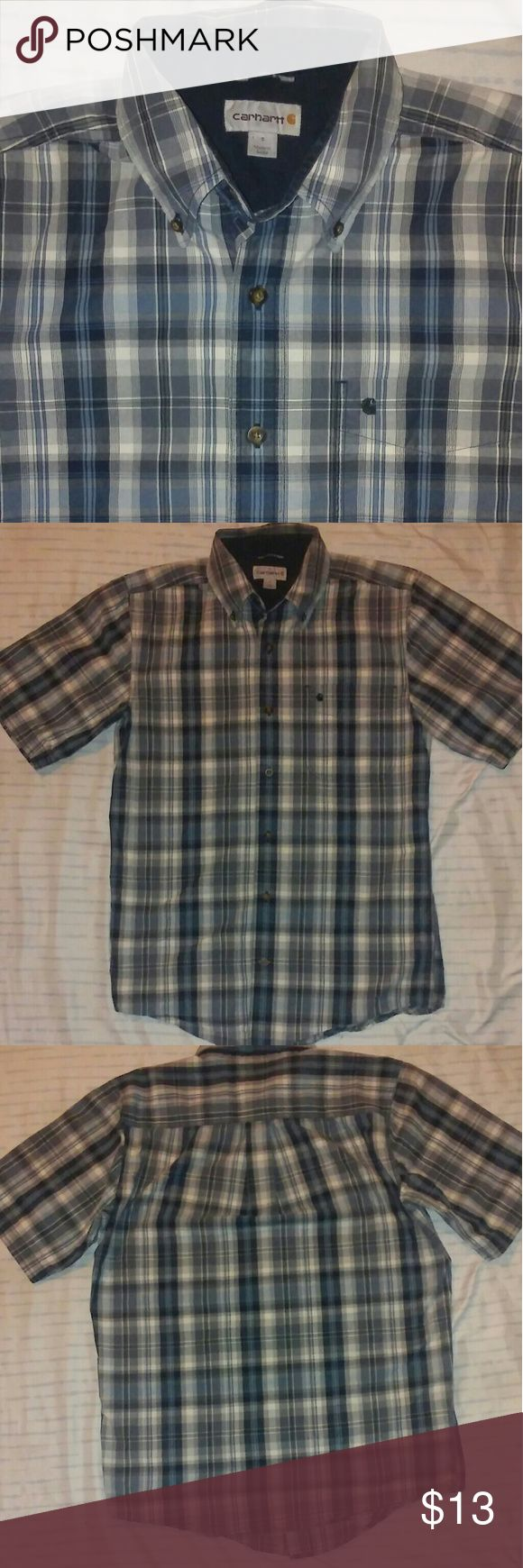Carhartt Brand Small Button Down Flannel! This small button down is a short sleeve. Great brand. Has a still new feel to it. Thick material. Good work shirt. Blue color scheme. Carhartt Shirts Casual Button Down Shirts