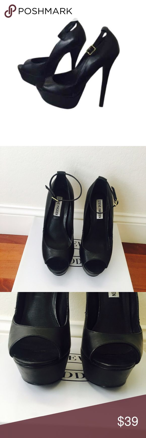 🆕Steve Madden Black Heels Steve Madden black heels gently worn. Tiny blemishes on heel. Super comfy heels if you are used to the height! ▫️Size 6.5 ▫️Brass tone hardware  ▫️Leather upper ▫️Manmade sole 🔅BUNDLE & SAVE🔅 ✅Smoke/Pet free home 📦Shipment Days: Monday, Wednesday & Friday 🔘Please use offer button for all offers Steve Madden Shoes Heels
