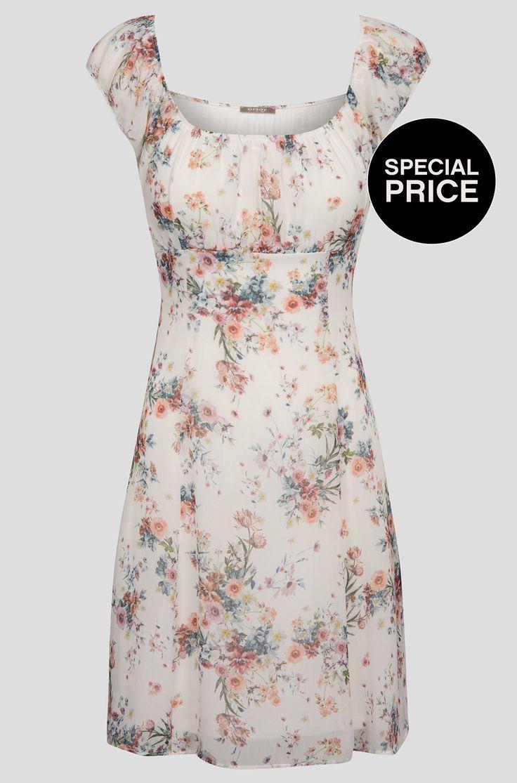 Květované krátké šaty s dekoltem Carmen
