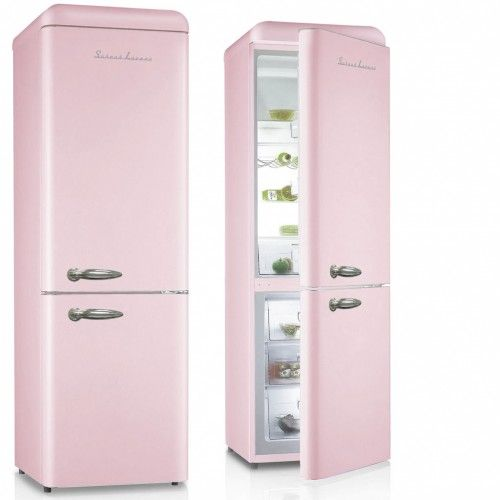 Schaub Lorenz Retro Kühl-/Gefrierkombination in Pink glänzend