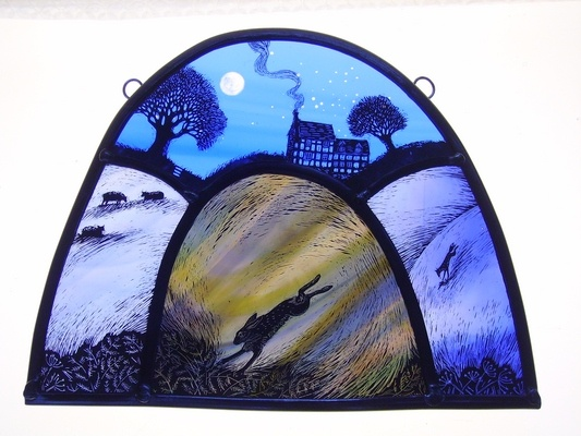 Winter House Leaping Hare - stained glass by Tamsin Abbott