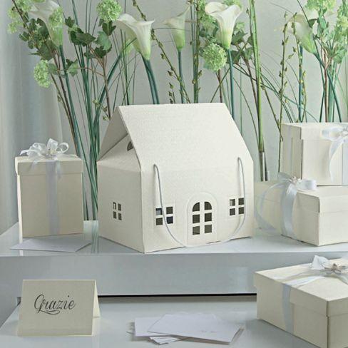 Scatola CASINA GRANDE con cordini finitura fiori in rilievo _cm 33x25 - Scatoline per bomboniere diy - Bomboniere & Wedding