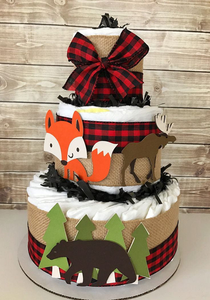 Woodland Lumberjack Diaper Cake, Little Lumberjack Baby Shower Centerpiece by AllDiaperCakes on Etsy https://www.etsy.com/listing/521621905/woodland-lumberjack-diaper-cake-little