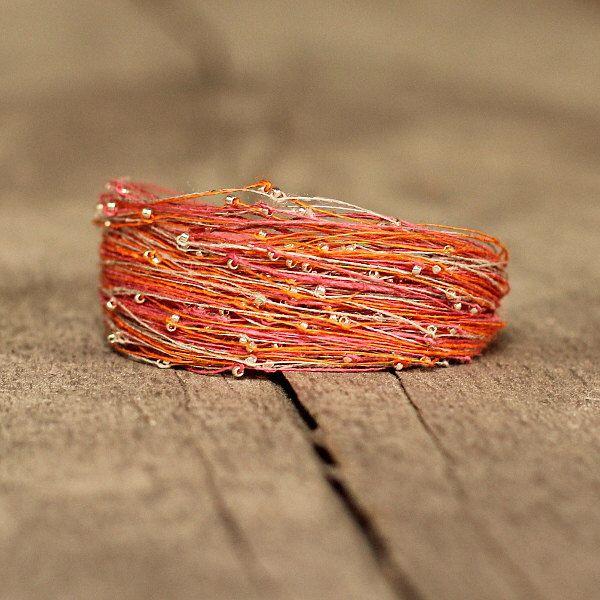 Unique Bracelet, Orange Pink Bracelet, Bohemian Jewelry, Linen Bracelet, Boho Bracelet, Gift for Friend, Magnetic Bracelet, Artisan Jewelry by Naryajewelry on Etsy https://www.etsy.com/ca/listing/464426309/unique-bracelet-orange-pink-bracelet