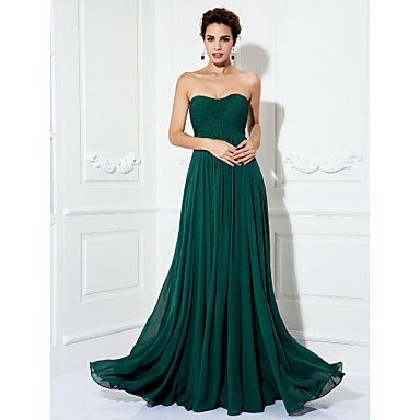 TS Couture® Formal Evening / Prom / Military Ball Dress - Dark Green Plus Sizes / Petite A-line / Princess Strapless Sweep/Brush Train Chiffon – USD $ 99.99