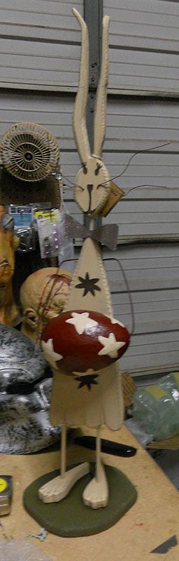 Primitive wooden bunnies   ... Primitive wood standing Easter rabbit holding a a large colored wooden
